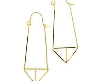 Birdhouse Jewelry - Gold Geo Triangle Earrings