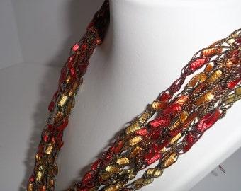 Firefly Crochet Ladder Lace Necklace Trellis Ribbon Lace Fiber Yarn Reds Golds