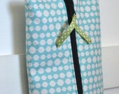 Boxy Zipper Pouch with Handle - Aqua and White Polka Dot