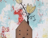 Acrylic Flower and House Painting , Folk Art Collage, Mixed Media Painting, Whimsical Art