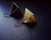 pharaohcide - raw brass cut out pyramid earrings - summer festival fashion - occult goth soft grunge fashion