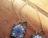 Dangle earrings, Mural jewelry, Azulejos tiles, Portuguese jewelry, Spanish drop earrings, Gypsy tile, Iberian, Moorish, blue and white