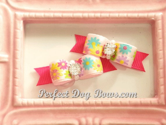 Pink Flowers Dog Bow, Flowers Dog Bow, Pink Dog Hair Bow, Pink Yorkie Bow