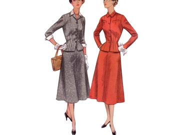 50s uncut Skirt Suit pattern Hourglass New Look Suit pattern vintage 34-28-32 fit and flare simplicity 4183