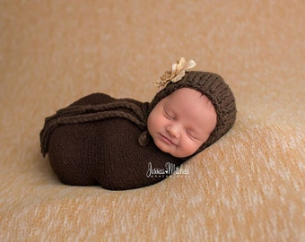 Chocolate Bonnet - deep brown newborn photography prop girl boy tan cream flower baby hat