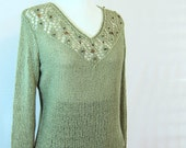 Womens  knit sweater  green, cotton blend sweater, green sweater, long sleeves, V neck sweater, womens clothing