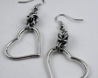 Chainmaille Earrings - Heart Earrings - Stainless Steel Heart Dangle Earrings - Funky Earrings - Statement Earrings - Unique Earrings