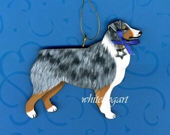 Handpainted Blue Merle Australian Shepherd Christmas Ornament
