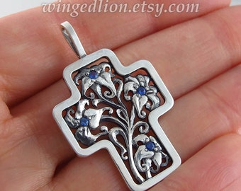 Floral Silver Cross Art Nouveau inspired with Blue Sapphires