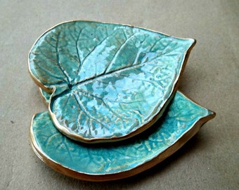 Cermic Leaf Set TWO Small Ring Dishes edged in gold Sea green