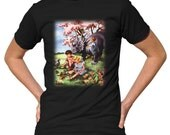 Triceratops Spring T-Shirt - Funny Dinosaur TShirt - Mens and Ladies Sizes Small-3X