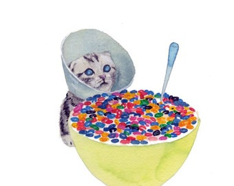 "CEREAL KILLER Needs Help Cat with Cone 8.5 x 11"" print by Ray Young Chu"