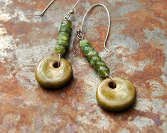 Mossy / Emerald Tone Ceramic Disk Charms and Gemstone Earrings