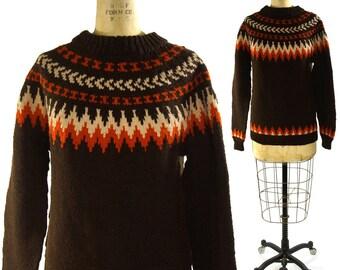 Cowichan Pullover Sweater / Hand Knit Blanket Sweater / Fair Isle Pattern