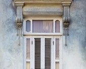 Havana Window Photo, Spanish Architecture Art, Cuba Photography, Pastel Wall Art, Gray Blue Wall Decor, Spanish Decor, Bedroom Art