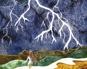 She stood at the edge of the storm, lightening sky, beach ocean waves, Original Fabric on Wood art box deep