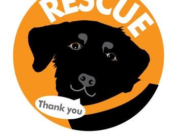 Rescue Bumper Sticker Black Labrador Retriever Dog
