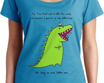 TRex is Feeling Better Scoop Neck T-shirt - Cute Funny Dinosaur TShirt