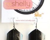 Upcycled jewelry, geometric, eco-friendly earrings, Bike Inner Tube Earrings, painted earrings, black earrings, jewelry for her,  #99