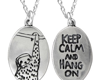 Sloth Necklace - Reversible Sterling Silver Hanging Sloth Necklace - Keep Calm and Hang On
