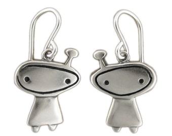 Orbit Girl Little Charm Earrings - Sterling Silver Alien Earrings - Silver Astronaut Earrings
