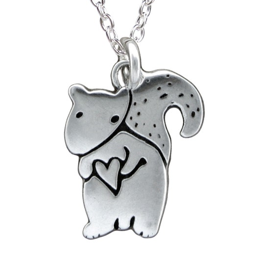 Sterling Squirrel Necklace - Silver Tubby the Squirrel Pendant