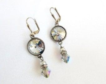 Industrial Glam v4 - Ice Blue Swarovski Crystal and Rhinestone Dangle Earrings with Gun Metal Finish - Winter Wedding, Holiday Glam
