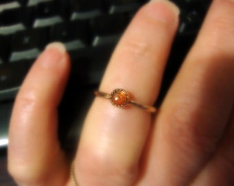 Sunstone ring Golden Orange Shiller Ring - Eco-friendly recycled 14k/20 yellow gold filled - custom made in your Size - 4mm natural