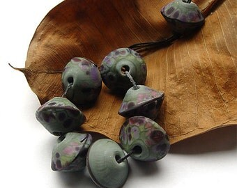 artisan lampwork, handmade  -   Dark but soft with a little purple - by Calisto - MTO