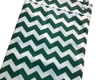 Dark Green chevron 13x20 kitchen wetbag - hanging laundry bag for unpaper towels, dish cloths, hand towels, cloth napkins, etc.