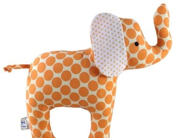 Baby Cloth Elephant Toy with Rattle - Spotty Orange - Baby - Toddler -  Child Friendly - Unisex New Baby Gift