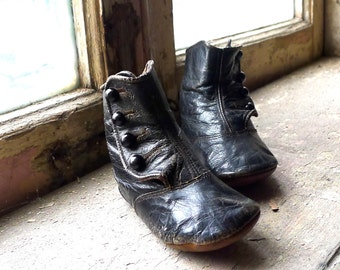 Victorian Black Leather Toddler High Button Booties