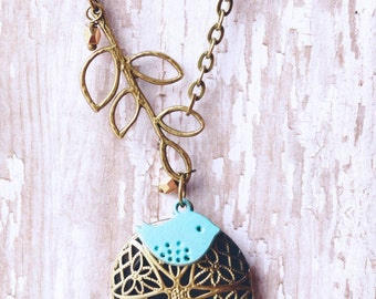 Turquoise Bird and Branch Vintage Style Essential Oil Diffuser Necklace Shabby Chic Jewelry Antique Bronze