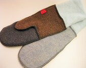 Woolen Mittens, Upcycled from sweaters, Lined with Canadian made poly-cotton fleece