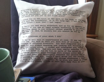 pride and prejudice passage throw pillow cover, Elizabeth and Mr. Darcy