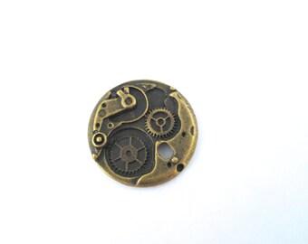 6 brass watch gear cog charm pendants