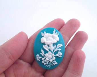 4 30x40mm teal flower cameo cabochons