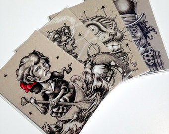 Four Alice inspired Wonderland prints by Bryan Collins