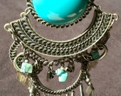 Necklace Vintage Lucite and Silver Tribal Gypsy Queen Statement Woven Unique Turquoise