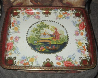 Vintage Daher Decorated Ware Made in England Chinese Themed Metal Serving Tray