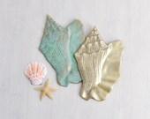 1 or 2 Vintage Brass Conch Shell - shiny or verdigris patina - metal seashell wall hanging - nautical beach decor