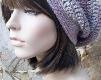 hand crochet Tam rasta beanie Hat ~ city slouch ~ drifting grey pink