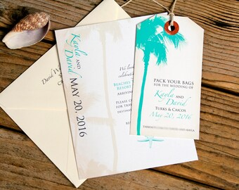 Wedding Save the Date Tag - Palm Tree Destination Magnet Tag and Card  - Design Fee