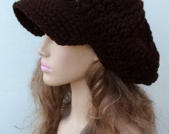Newsboy cap, Coffee brown women men Cap Visor Tam Hat Slouchy Newsboy Bill Beanie Billed