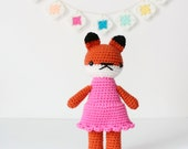 stuffed plush toy fox, amigurumi crochet animal plushie, cute girl doll