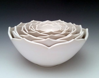 Nesting Ceramic  Bowls, Serving Bowls in a Set of Eight White Bowls or Your Choice of Color