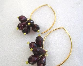 Garnet, 22kg Vermeil Embellished Drop Earrings...