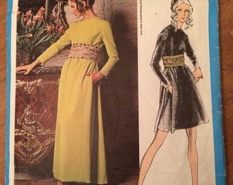 Oscar de La Renta - Vintage Vogue Americana 2219 Pattern - Evening Dress with Wide Belt or Cummerbund