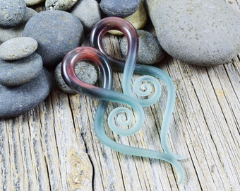 Custom | 2G or 4G - Ice Seaglass - Squids | Gauged Glass Body Jewelry for Stretched Piercings by Glassheart