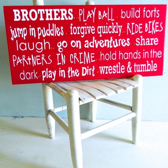 Brothers Sign. Brother art. kids room decor. twin boys. boys room decor. playroom sign.
